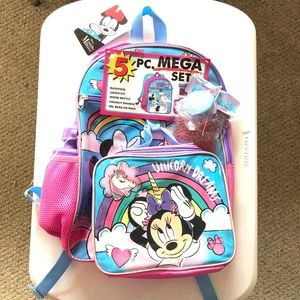 NWT Disney Minnie Mouse 5 Piece Backpack Set